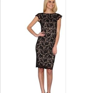 ABS 🌚 black lace cap sleeve cocktail dress
